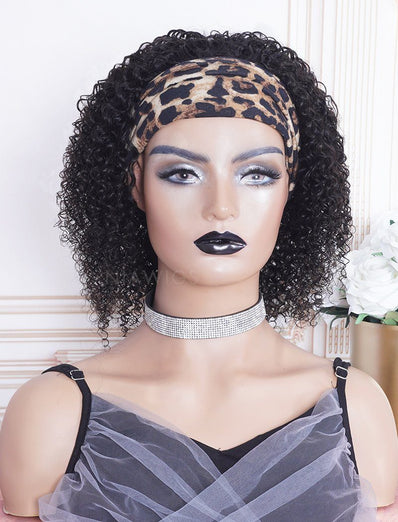 New Arrival Kinky Curly Head Band Wig Human Hair Machine Made Wigs