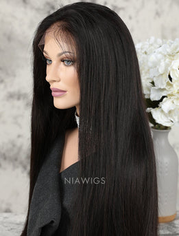 Silky Straight Human Hair Lace Front Wigs With Natural Hairline