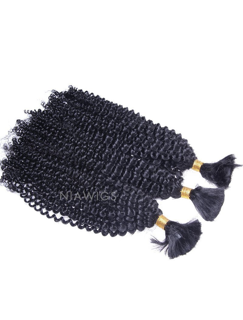 Bulk Human Hair for Braiding #1 Jet Black Kinky Curly Brazilian Hair(1 Bundle On Sale)