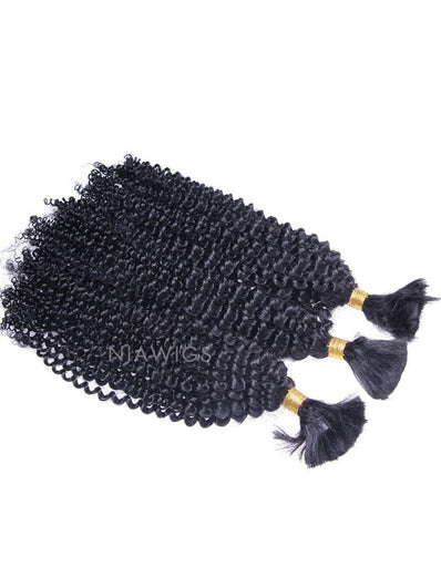 Bulk Human Hair for Braiding #1 Jet Black Kinky Curly Brazilian Hair