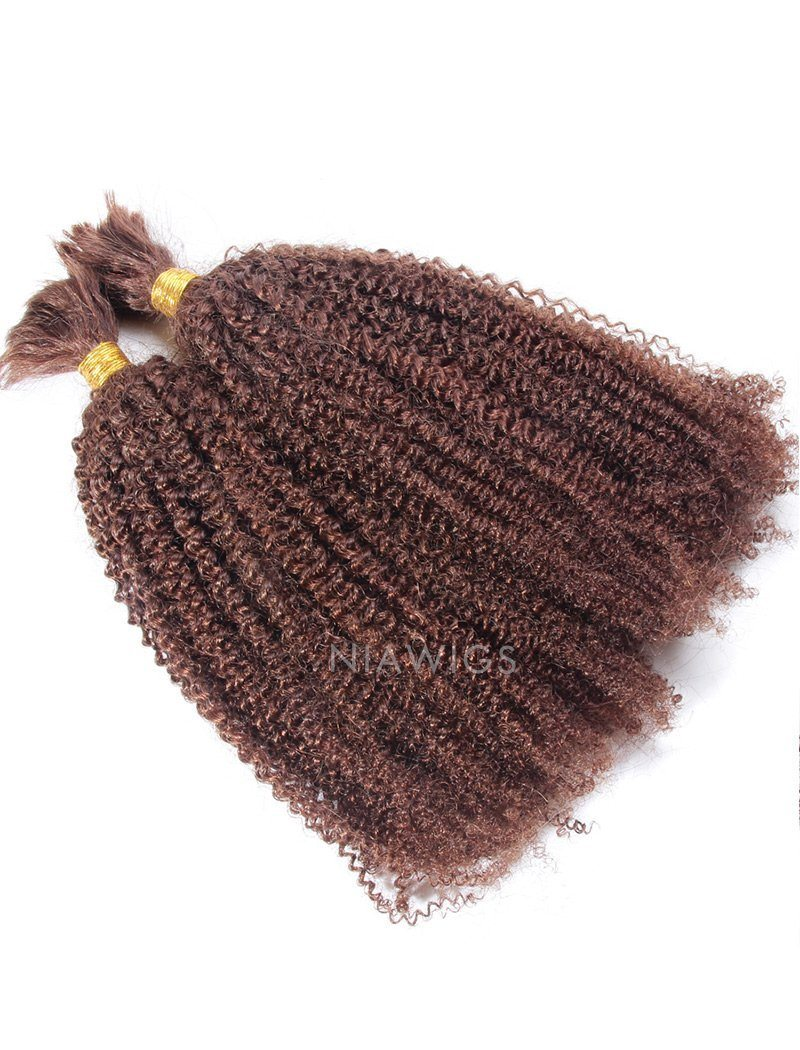 Load image into Gallery viewer, Bulk Human Hair for Braiding #33 Dark Auburn Kinky Curly Brazilian Hair