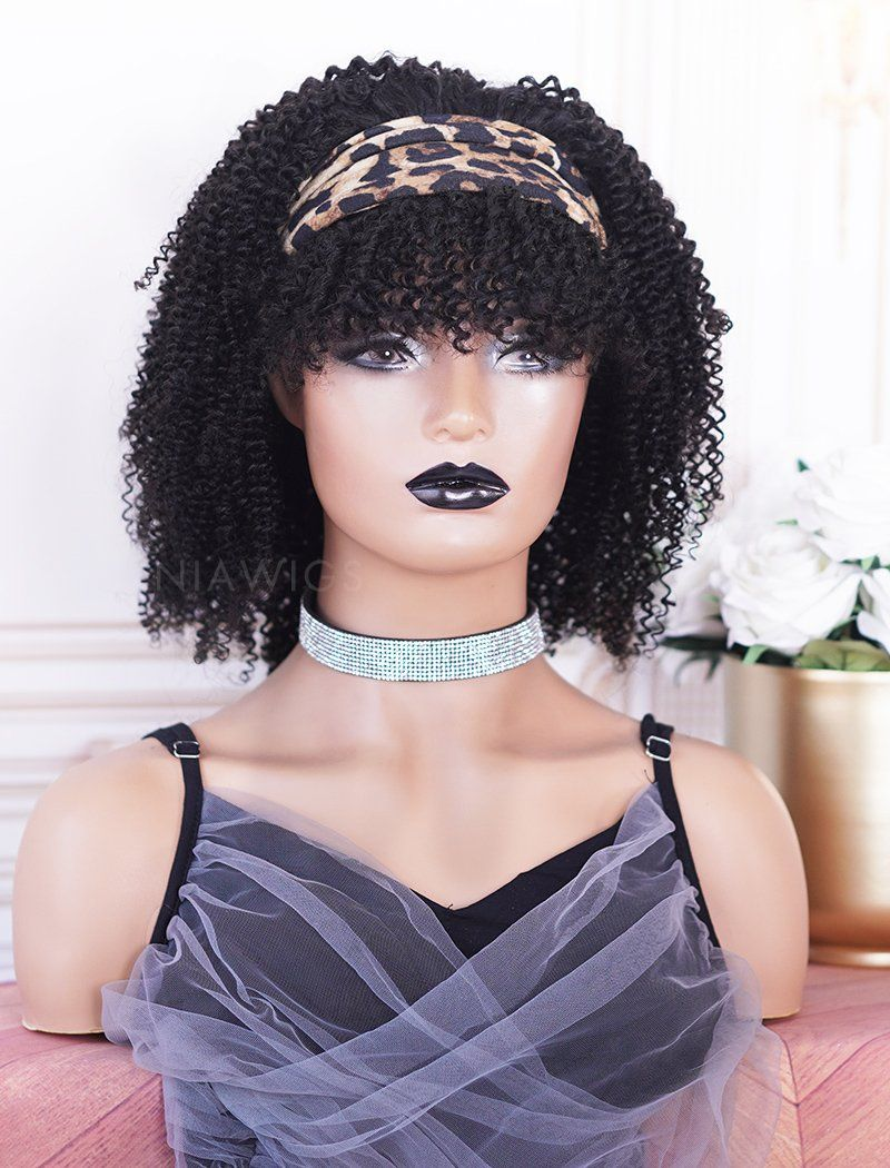Headband Wig Kinky Curly Human Hair With Bangs Wigs (WITH ONE FREE TRENDY HEADBAND)