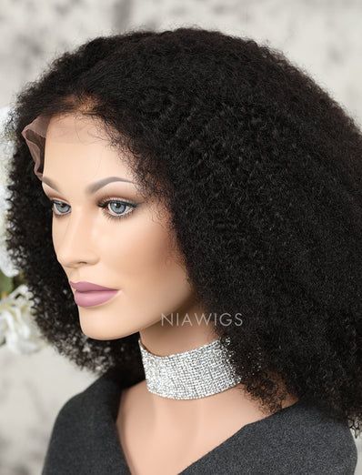 Afro Kinky Curly Human Hair Glueless Full Lace Wigs
