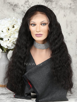 Water Wave Human Hair Glueless Full Lace Wigs With Baby Hair