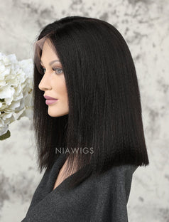 Load image into Gallery viewer, Yaki Straight Short Bob Human Hair Glueless Full Lace Wigs