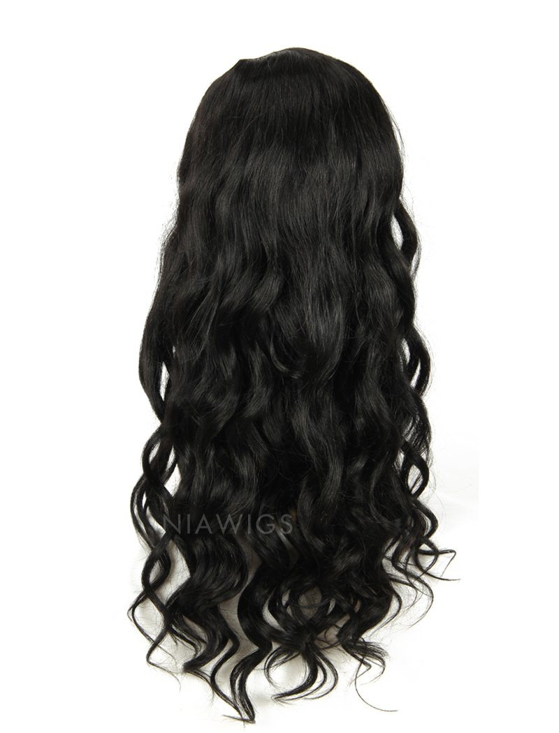 Loose Wavy U Part Human Hair Wig Jet Black Upart Wigs