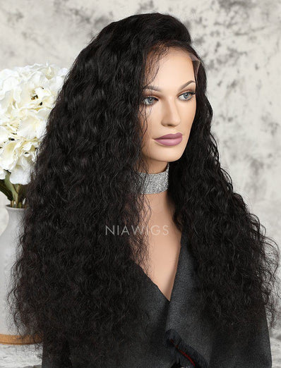 Loose Curly Human Hair Glueless Full Stretchable Wigs With Baby Hair