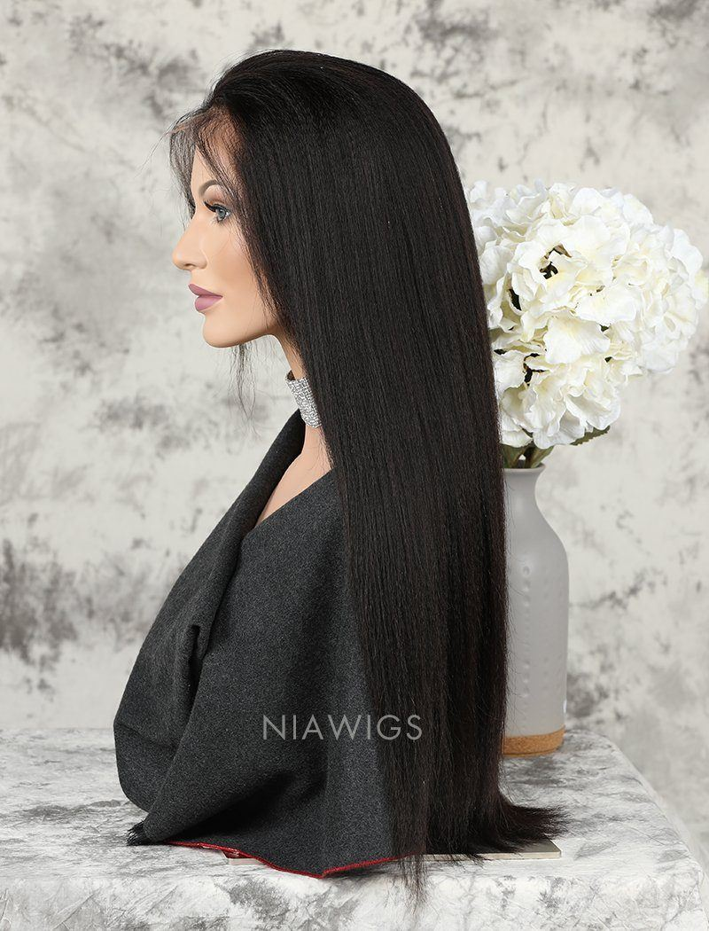 Yaki Straight Human Hair Skin Base Lace Front Wigs
