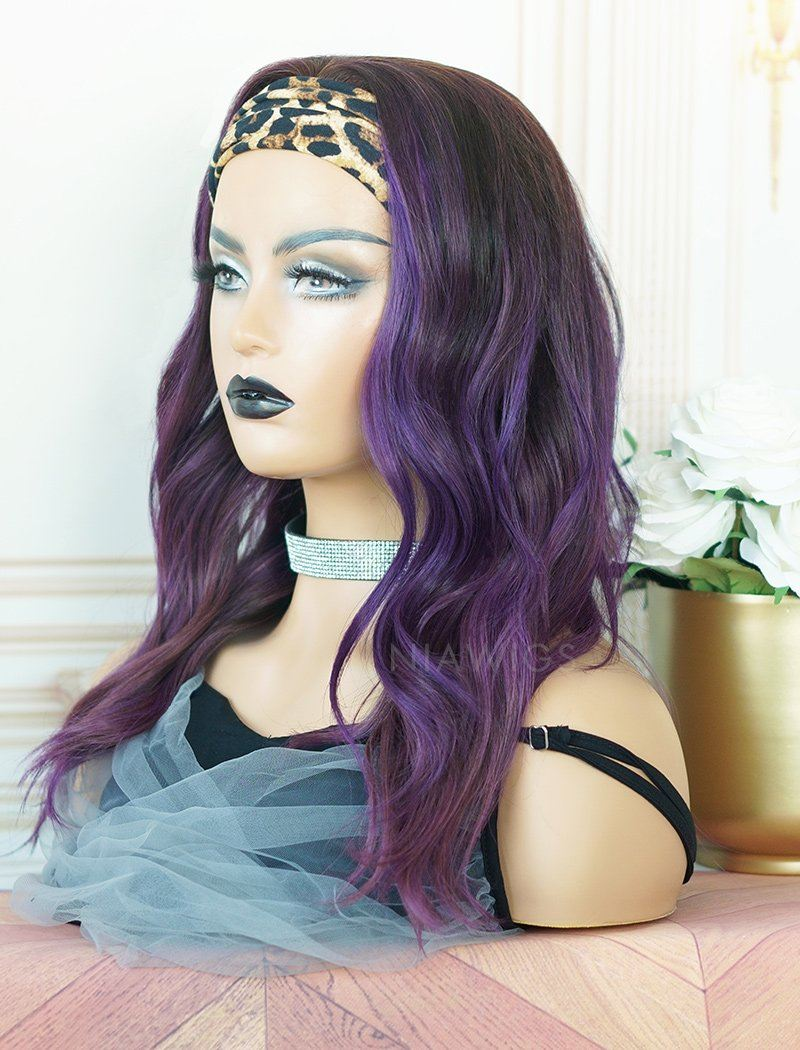 Donna #Purple Headband Wig Human Hair Wigs (WITH ONE FREE TRENDY HEADBAND)