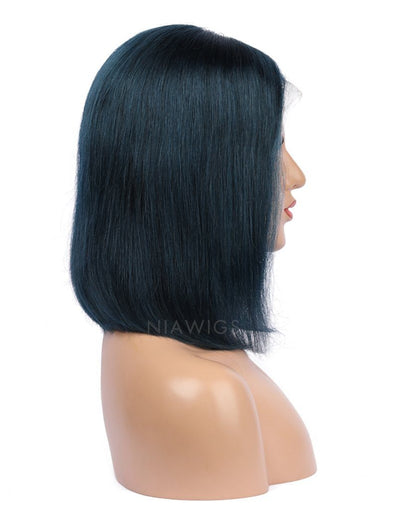 Prussian Blue Human Hair Bob Wig Colorful Lace Wigs