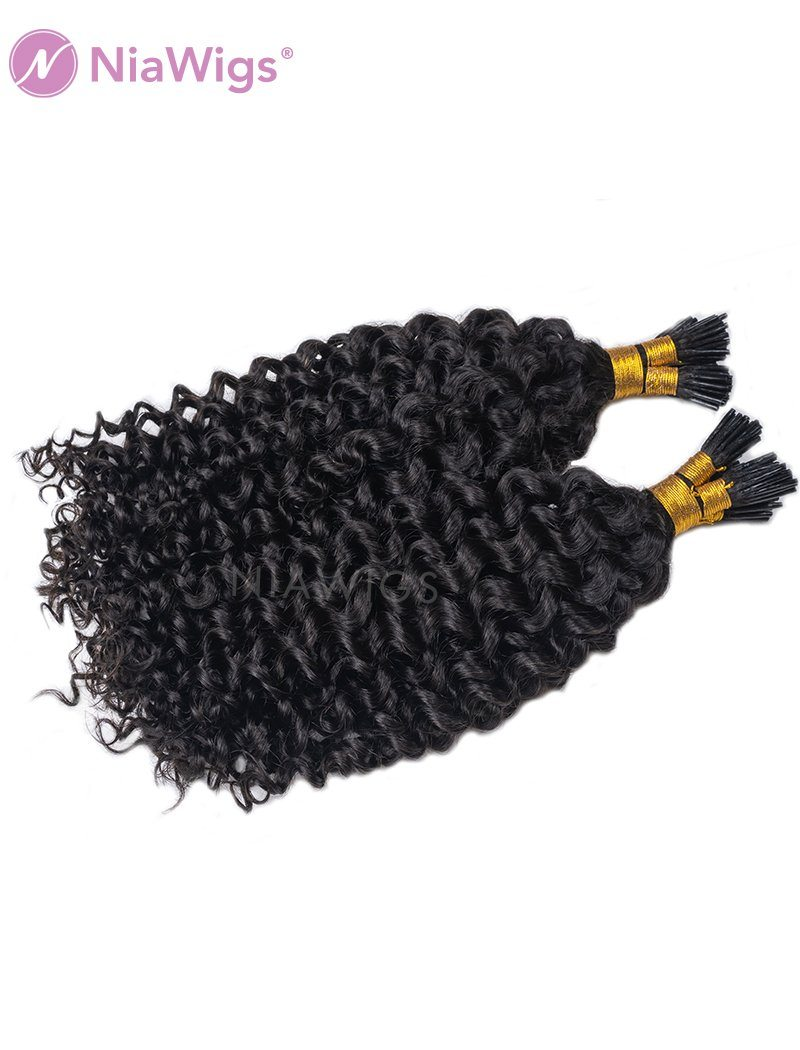 I Tip Human Hair Hair Extensions Micro Links Pre Bonded Curly