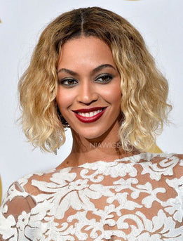 Beyonce Celebrity Blonde Curly Bob Virgin Human Hair Lace Front Wigs