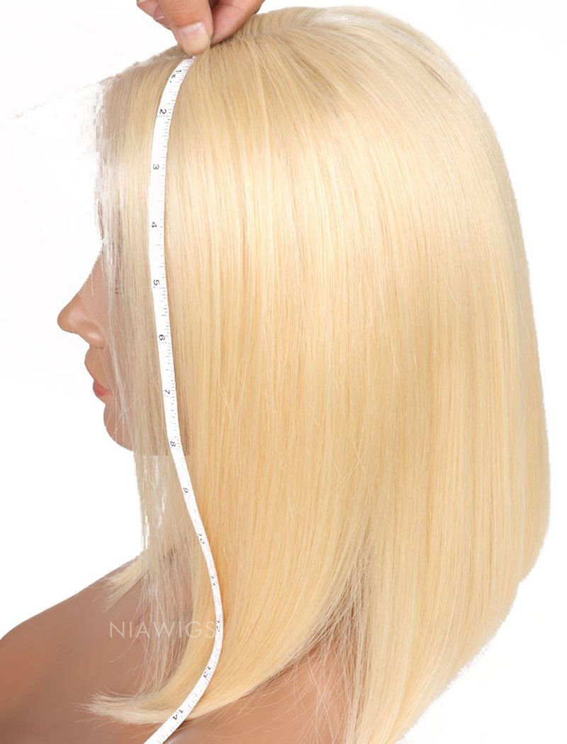 #613 Blonde Human Hair Lace Front Wigs Blunt Cut Silky Straight
