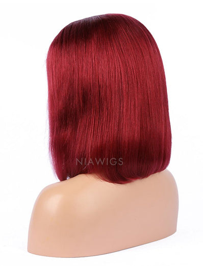 Dark Red Human Hair Bob Wig Colorful Lace Wigs