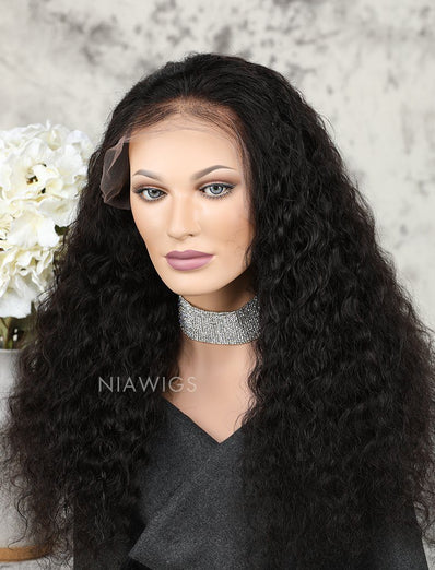 Deep Wave Human Hair Glueless Full Lace Wigs With Baby Hair