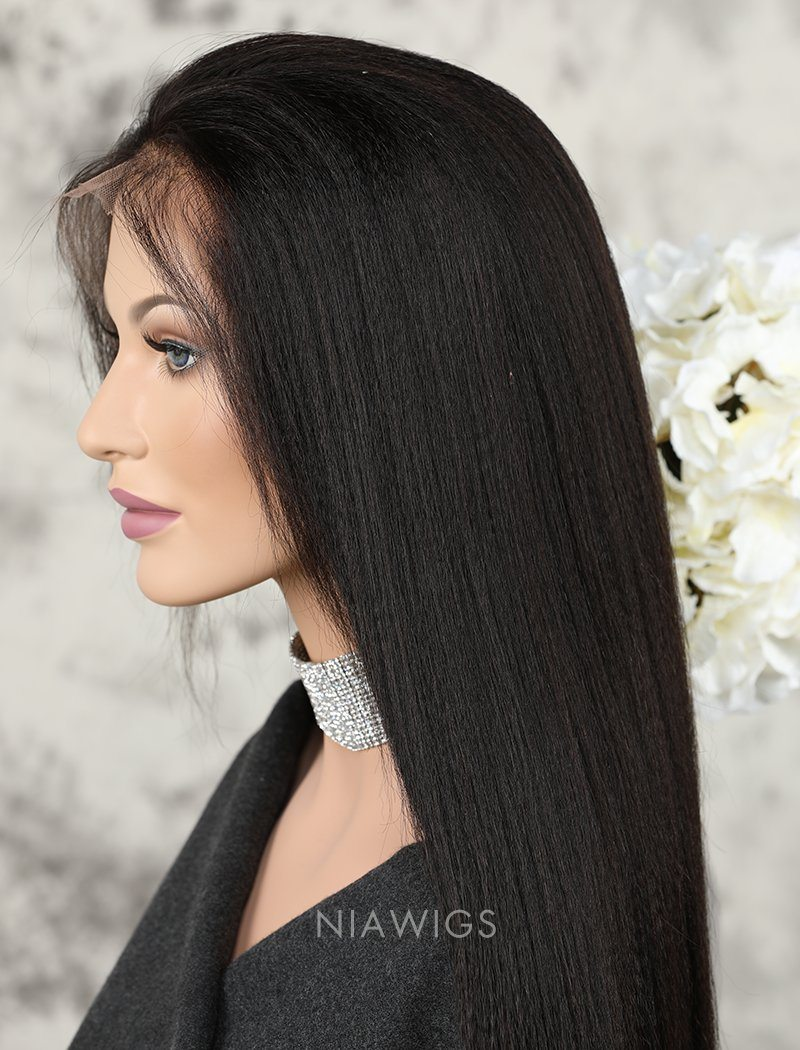 Yaki Straight Human Hair Glueless Full Stretchable Wigs With Baby Hair