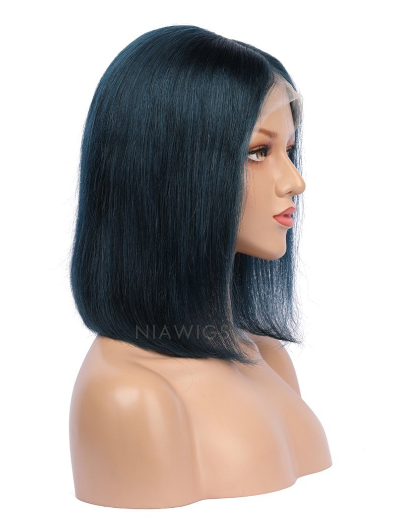 Load image into Gallery viewer, Prussian Blue Human Hair Bob Wig Colorful Lace Wigs