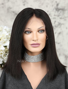Yaki Straight Short Bob Human Hair Lace Front Wigs