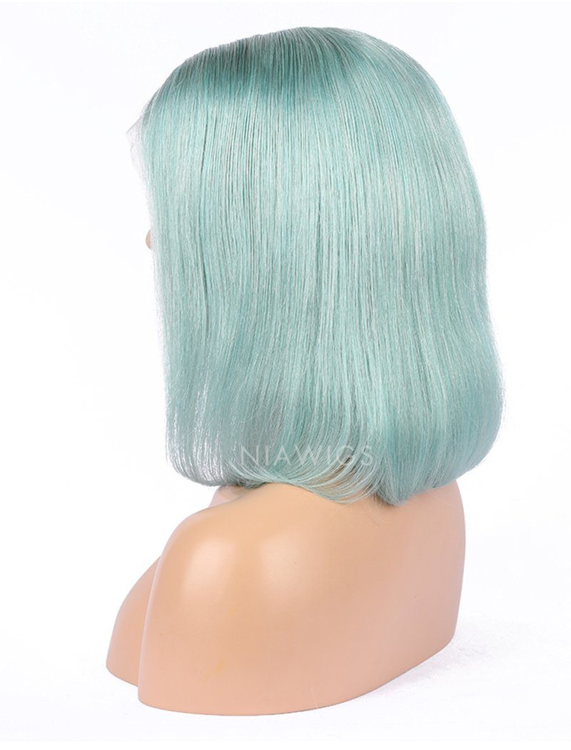 Mint Teal Human Hair Bob Wig Colorful Lace Wigs