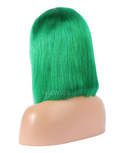 Load image into Gallery viewer, Emerald Green Human Hair Bob Wig Colorful Lace Wigs