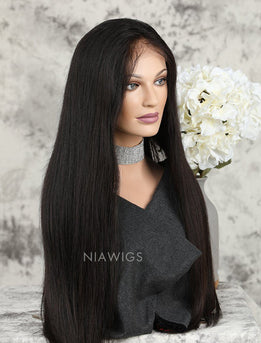 Silky Straight Human Hair Glueless Full Stretchable Wigs With Baby Hair