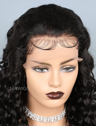 Natural Wave Glueless Full Lace Human Hair Wigs With Baby Hair