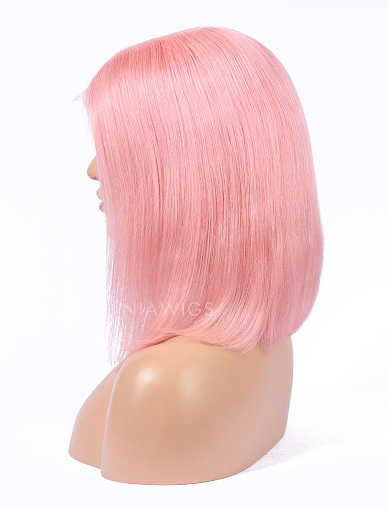 Pink Human Hair Bob Wig Colorful Lace Wigs