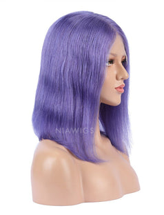 Load image into Gallery viewer, Lavender Human Hair Bob Wig Colorful Lace Wigs
