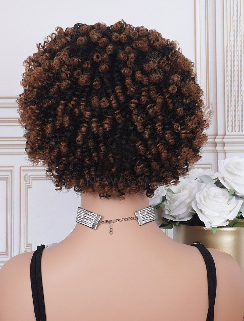 Load image into Gallery viewer, #1b/33 Head Band Wig Human Hair 4C Kinky Curly Machine Made Wigs