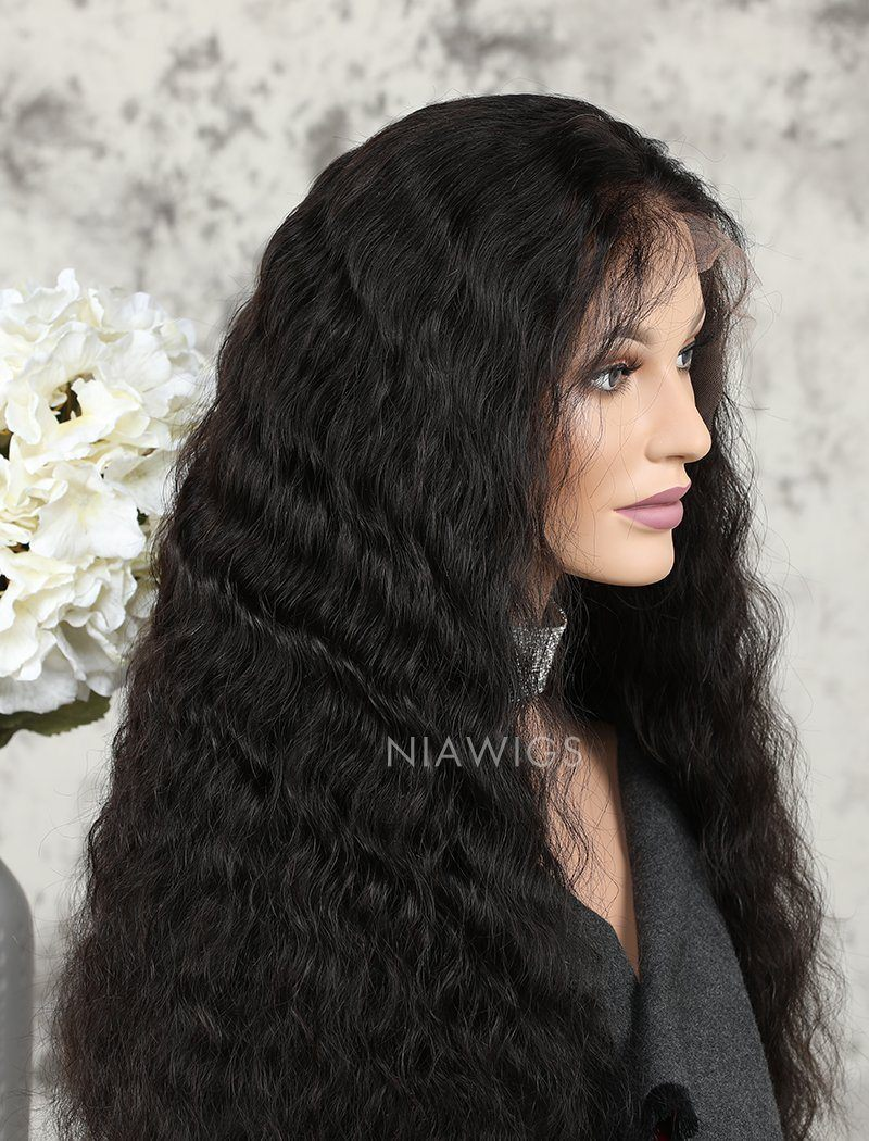 Water Wave Human Hair Glueless Full Stretchable Wigs With Baby Hair