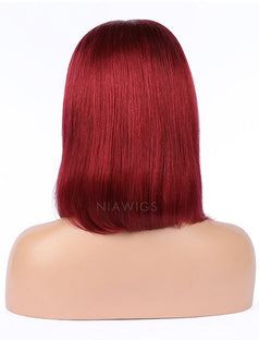 Load image into Gallery viewer, Dark Red Human Hair Bob Wig Colorful Lace Wigs