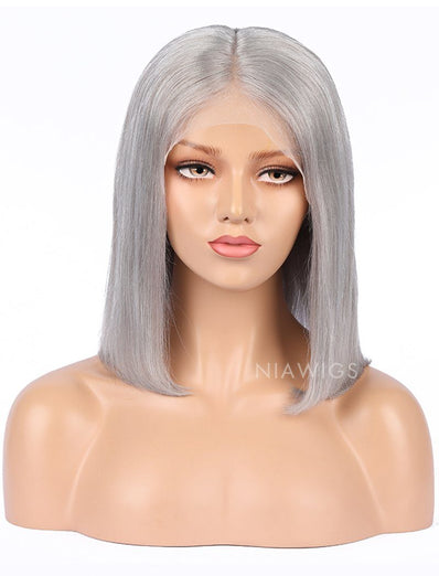 Silver Gray Human Hair Bob Wig Colorful Lace Wigs