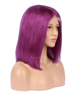 Load image into Gallery viewer, Purple Human Hair Bob Wig Colorful Lace Wigs