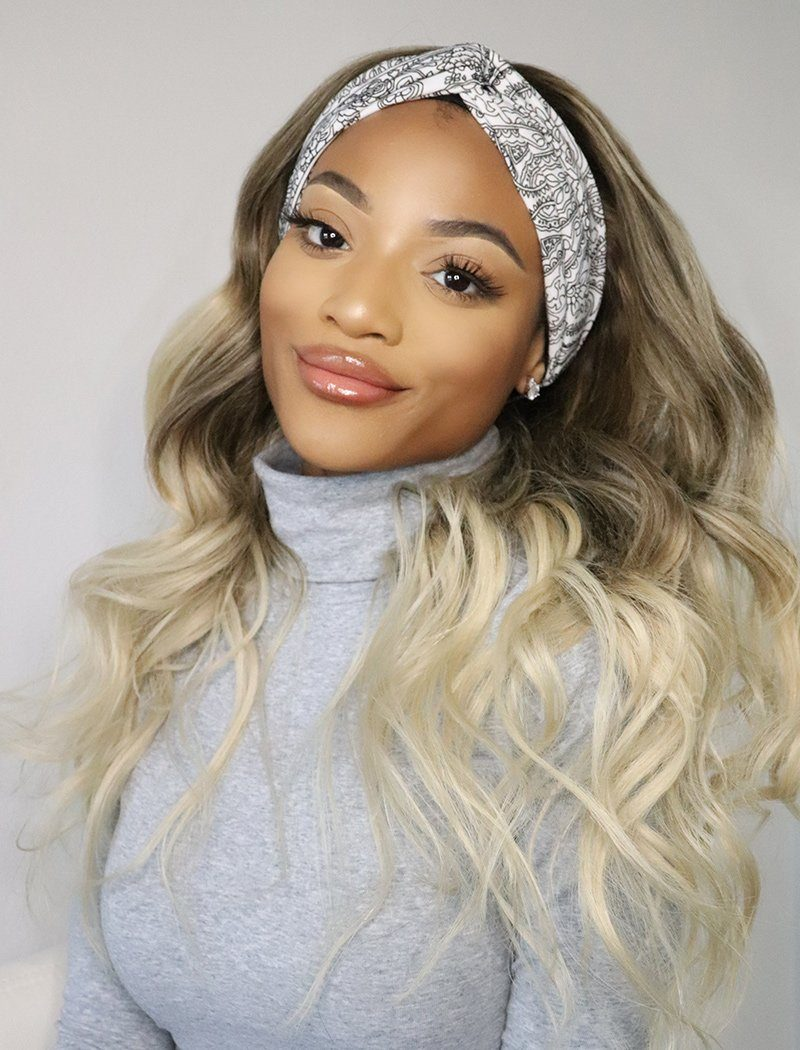 Latina Balayage Headband Wig Wavy Human Hair Wigs (WITH ONE FREE TRENDY HEADBAND)