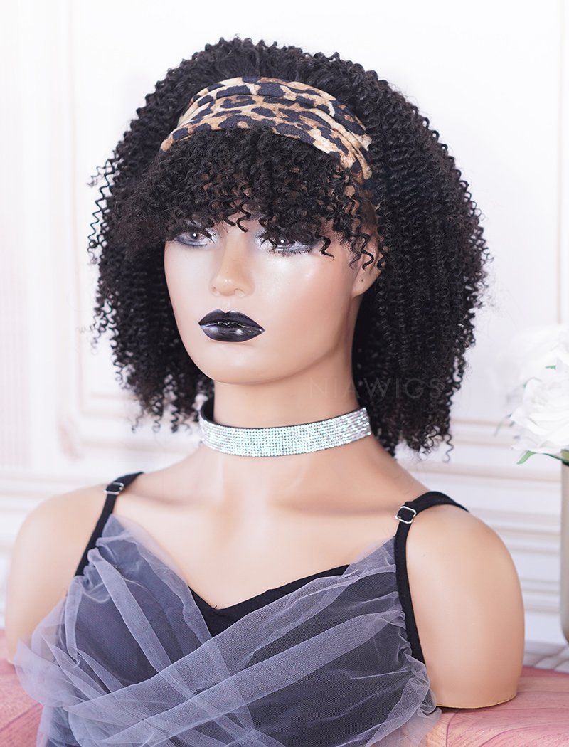 Headband Wig Kinky Curly Human Hair With Bangs Wigs(5 Pieces Free Trendy Headbands)