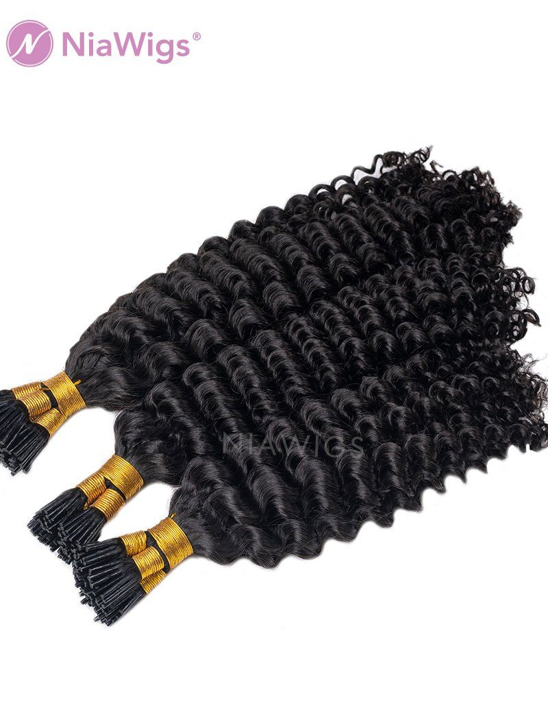 100 Strands/Pack Deep Curly I Tip Human Hair Pre Bonded Hair Extensions Micro Links