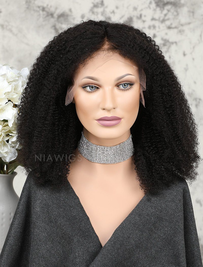 Load image into Gallery viewer, Afro Kinky Curly Human Hair Lace Front Wigs Natural Black Hair Color