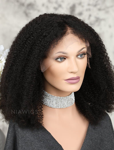Afro Kinky Curly Human Hair Lace Front Wigs Natural Black Hair Color
