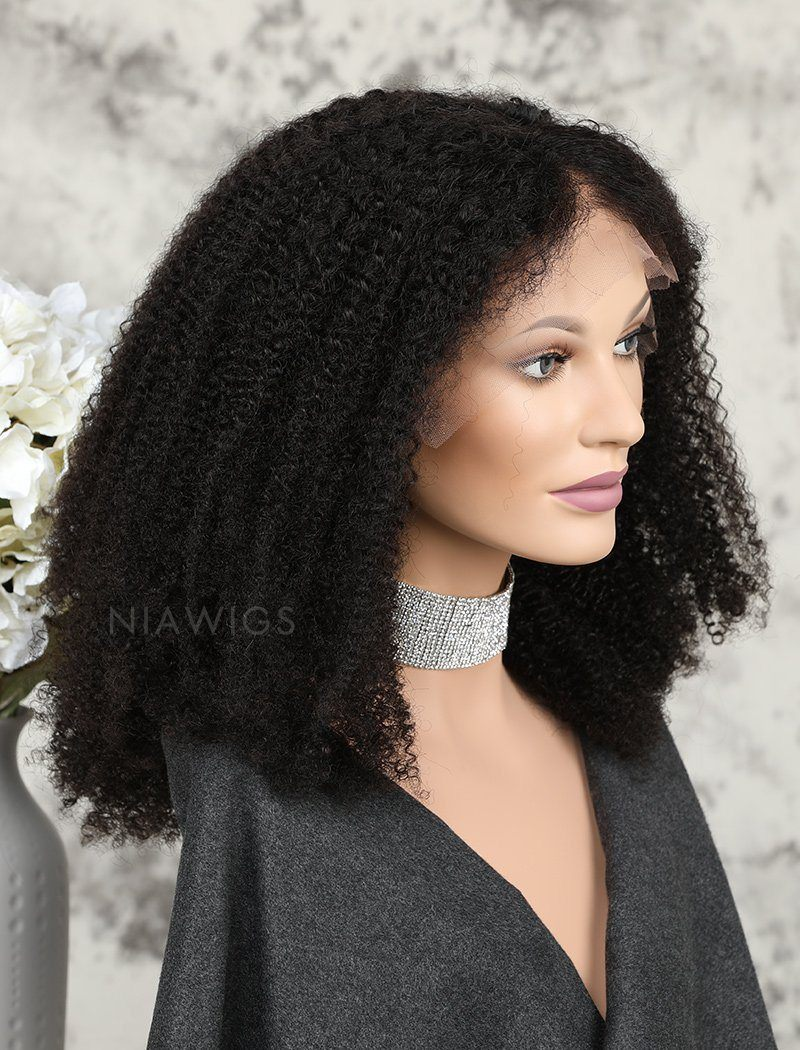 Afro Kinky Curly Human Hair Glueless Full Stretchable Wigs Natural Black Hair Color