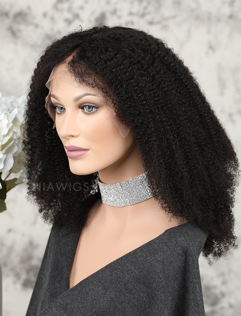 Load image into Gallery viewer, Afro Kinky Curly Human Hair Glueless Full Lace Wigs Natural Black Hair Color