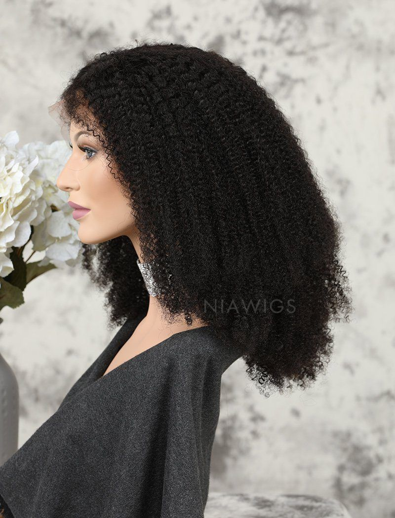 Load image into Gallery viewer, Afro Kinky Curly Human Hair Glueless Full Stretchable Wigs Natural Black Hair Color