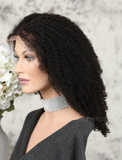 Afro Kinky Curly Human Hair Glueless Full Stretchable Wigs Preplucked Natural Hairline