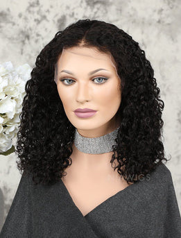 Bob Curly Human Hair Glueless Full Stretchable Wigs Middle Parting