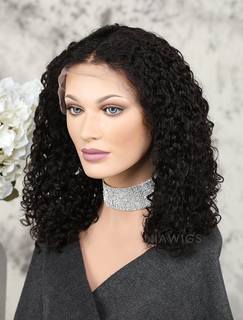 Bob Curly Human Hair Glueless Full Lace Wigs Middle Parting