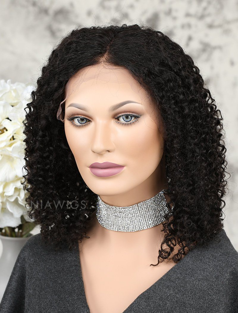 Kinky Curly Human Hair Glueless Full Lace Wigs For African American