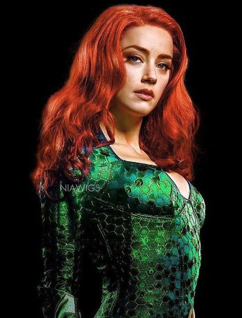 DC Aquaman Mera Inspired Remy Human Hair Wigs Wavy Lace Front Instock Wigs