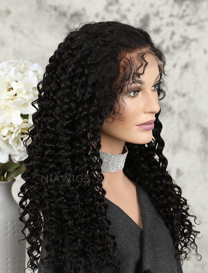 Deep Curly Human Hair Lace Front Wigs Free Parting With Baby Hair