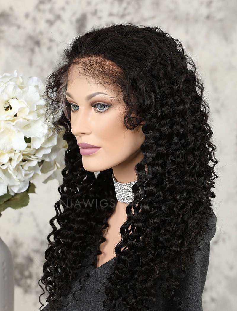 Load image into Gallery viewer, Deep Curly Human Hair Glueless Full Stretchable Wigs Free Parting With Baby Hair