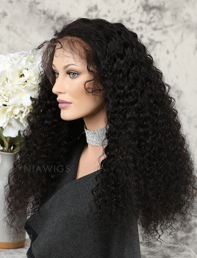 Deep Curly Human Hair Glueless Full Stretchable Wigs Free Parting With Baby Hair