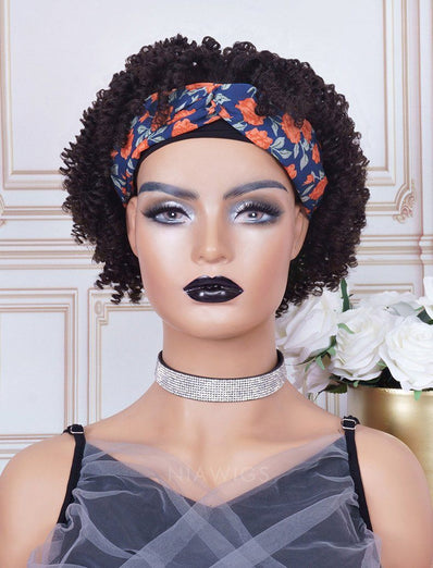 Headband Wig 4C Kinky Curls Human Hair Machine Made Wigs